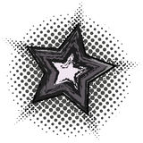 Grunge star with halftone pattern. Isolated on white vector illustration