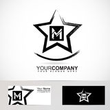 Grunge star letter M logo. Vector company logo element template of grunge star letter M alphabet vector illustration