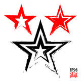 Grunge star on a red background. Simulates drawing with a dry brush. Vector illustration Royalty Free Stock Photos