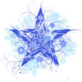 Grunge star & snowflakes. Blue grunge star, snowflakes and floral patterns vector illustration