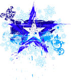 Grunge star & snowflakes. Blue grunge floral star and snowflakes royalty free illustration
