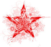 Grunge star & snowflakes. Red grunge floral star and snowflakes vector illustration