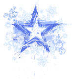 Grunge star & snowflakes Royalty Free Stock Photography