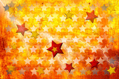 Grunge stars background. Colorful stars on an orange background in grunge style Stock Images