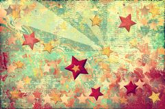 Grunge stars background. Colorful stars on an orange background in grunge style Royalty Free Stock Photography