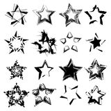 Grunge stars set. Abstract ink grunge vector stars set. Isolated on white background Royalty Free Stock Images