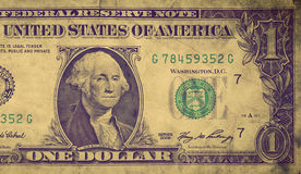 Grunge, stary jeden dolarowy rachunek, frontowy widok USD Fotografia Stock