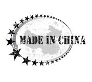 Grunge Stempel mit dem Wort hergestellt in China Stockbild