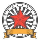 Grunge Stempel mit Stern in der sowjetischen Art Lizenzfreie Stockfotos