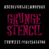 Grunge stencil typeface. Retro alphabet font. Scratched letters royalty free illustration