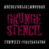 Grunge stencil typeface. Retro alphabet font. Scratched letters Stock Photos