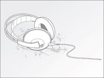 Grunge Stereo Headphones. Vector Illustration Stock Images