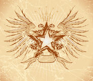 Grunge Stern u. Flügel Lizenzfreies Stockbild