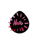 Grunge sticker with text Hello. Black and Pink banner. Retro label. Website decorative element. Watercolor vintage background. Royalty Free Stock Photo