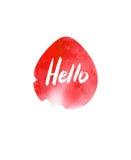 Grunge sticker with text Hello. Pink banner. Retro label. Website decorative element. Watercolor vintage background. Stock Photos
