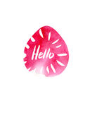Grunge sticker with text Hello. Pink banner. Retro label. Website decorative element. Watercolor vintage background. Royalty Free Stock Photo