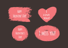 Grunge stickers with the text `Happy Valentine`s Day!`, `I love you!`, `I miss you!` Royalty Free Stock Image