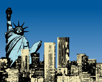 Grunge stlye buildings. Illustrations of grunge style buildings with statue of liberty Royalty Free Stock Image