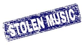 Grunge STOLEN MUSIC Framed Rounded Rectangle Stamp. STOLEN MUSIC stamp seal print with grunge style. Seal shape is a rounded rectangle with frame. Blue vector stock illustration