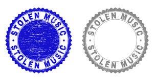 Grunge STOLEN MUSIC Textured Stamps vector illustration