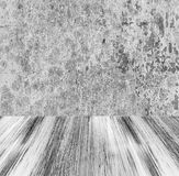 Grunge stone wall painted wooden floor Stock Photography
