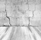 Grunge stone wall painted wooden floor Stock Image