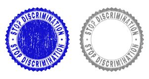 Grunge STOP DISCRIMINATION Scratched Stamps. Grunge STOP DISCRIMINATION watermarks isolated on a white background. Rosette seals with distress texture in blue royalty free illustration