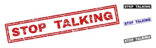 Grunge STOP TALKING Textured Rectangle Stamps vector illustration