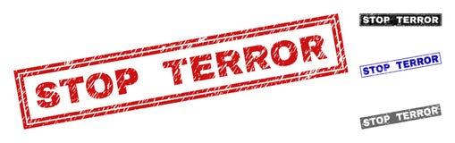 Grunge STOP TERROR Scratched Rectangle Stamp Seals vector illustration