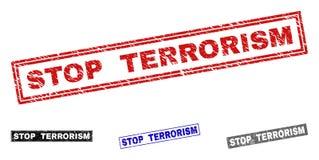 Grunge STOP TERRORISM Scratched Rectangle Stamps vector illustration