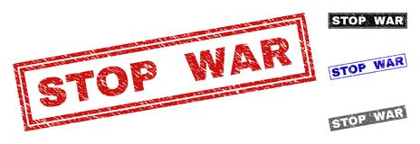 Grunge STOP WAR Textured Rectangle Stamps vector illustration