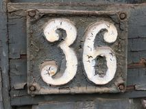 Grunge street sign with number 36 Stock Photo