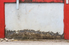 Grunge street wall texture background with red border frame, mid Stock Image