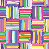 Grunge striped,checkered,quilt colorful seamless pattern Royalty Free Stock Image