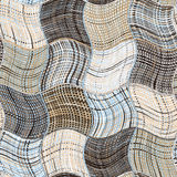 Grunge striped and checkered wavy background Stock Images