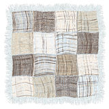 Grunge striped and checkered weave plaid with fringe in blue,beige,grey colors Stock Images