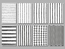 Grunge striped and dotted vector hand drawn patterns Royalty Free Stock Photos