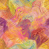 Grunge striped wavy diagonal rainbow seamless pattern Stock Photos