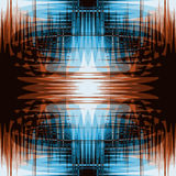 Grunge striped and wavy seamless pattern in blue and brown colors Stock Image