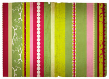 Grunge stripes page. Grunge paper texture with pink and green retro stripes Royalty Free Stock Photos