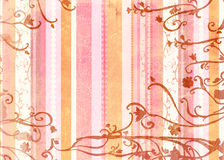 Grunge stripes page. Grunge paper texture with pink and orange retro stripes on swirl background Stock Photos