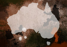 Grunge Styde Map of Australia Stock Image