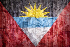 Grunge style of Antigua and Barbuda flag on a brick wall Royalty Free Stock Images