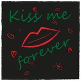 Grunge style background with lips, kiss, heart. Stock Photos