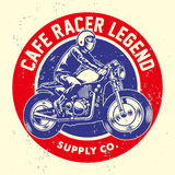 Grunge style of cafe racer badge Stock Photos