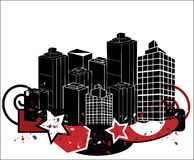 Grunge Style City. This is a Grunge Style City Illustration with shapes and artistic paint brush elements Stock Photos