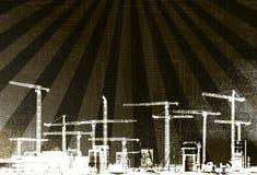 Grunge Style Crane Background royalty free illustration