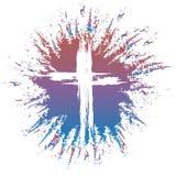 Grunge style cross on colorful splash Stock Image
