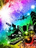 Grunge Style Disco Flyer Background Stock Image