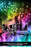 Grunge Style Disco Flyer Background Stock Photography